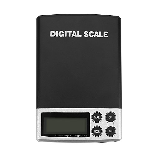 Zerodis 1 kg / 0,1g LCD Skala Elektronische Digitale Taschenwaage Schmuck Lebensmittel Gewicht Mini Küche Bürowaage Balance Wiegen Tragbare (Skala Schmuck Digitale Für)