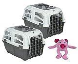 PETGARD 2er Sparpack Transportbox Hundebox Katzenbox SKUDO 1 Open mit gratis Hundespielzeug
