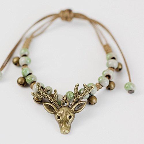 GJJ Bracelet tête de cerf Femelle Douce Sen Femelle à la Main Bracelet Style Ethnique Style rétro Bijoux en céramique,Vert,A
