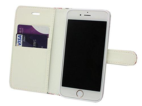 Emartbuy® Apple iPhone 7 Plus Brieftaschen Wallet Etui Hülle Case Cover aus PU Leder mit Kreditkartenfächern - Rosa Blossom Wallet Case Eule