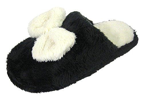 Coolers Damen Pantolette-Hausschuhe mit warmem Fleece & Schleife 115 Schwarz