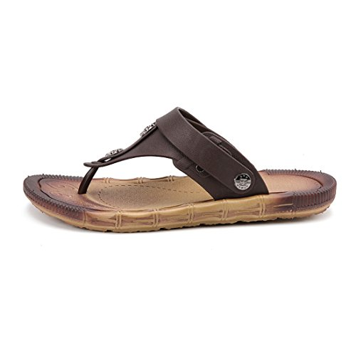 Men's Beach Platform Leather Outdoor Slippers w852 brown