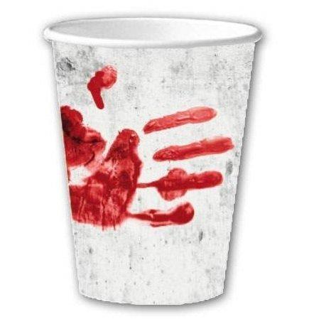 Pappbecher blutige Hände ca. 200 ml 10 Stk.