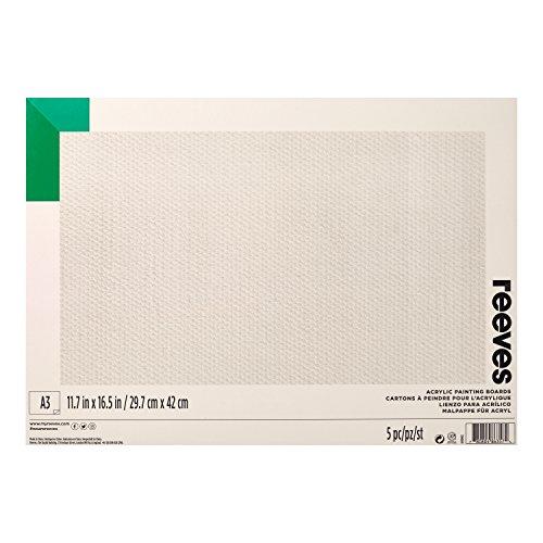 Reeves 8490965 Acrylkarton, für Acrylfarben, 5er Pack, Säurefrei, Grundiert, A3