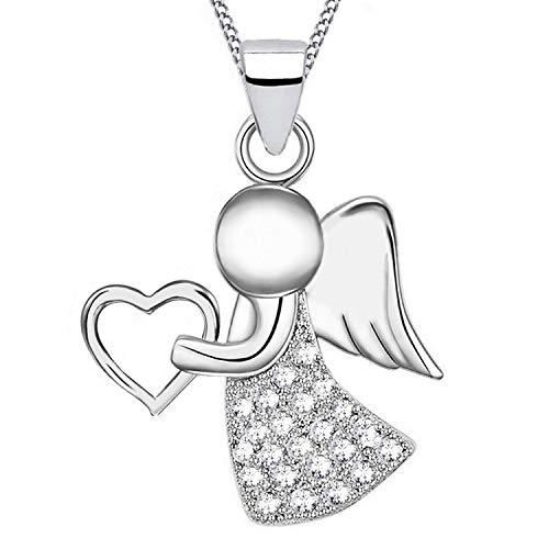 Zirkonia Schutzengel Anhänger + Kette 925 Echt Silber Kinder Damen Mädchen Engel (4) Engel mit Zirkonia, 50) (Mädchen Vier)