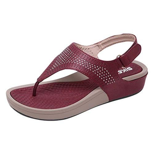 iLPM5 Damen Sommer böhmischen Kristall Open Toe Klettverschluss Keilabsatz Sandalen Bequeme Strand Schuhe Sandalen(Rot,39)