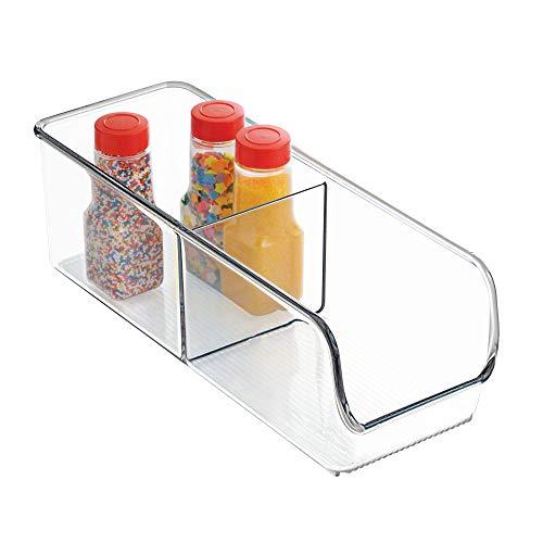 InterDesign Linus Aufbewahrungsbehälter, kleiner Küchen Organizer aus bruchsicherem Kunststoff mit zwei Fächern, durchsichtig
