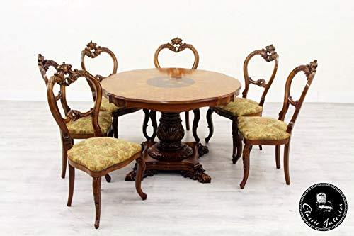 Classic Interior Esstisch Tisch 6 Stühle Esszimmer Italien Antik Barock Stilmöbel
