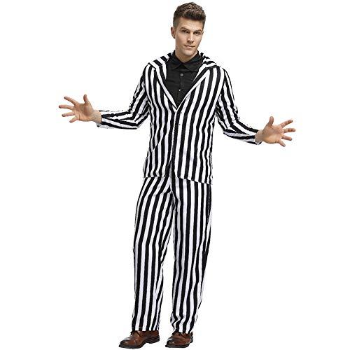 Halloween Kostüm Adult Horror Stripe Herren Ghost Kostüm Zirkus Magier Funny Clown Performance Uniform Cosplay Joker Return Soul,Stripe,M (Adult Funny Ghost Kostüm)