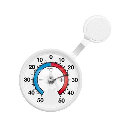 Bimetall Analog Fenster , Außen , Klebe Thermometer . Fensterthermometer . Temperaturanzeige + / - 50 °C mit drehbarem Haltearm . Kunststoff Farbe weiss