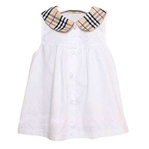 TOOGOO(R) New girls's plaid dresses fashion designer clothing summer dress for kids, baby girls clothing cotton princess dress 10-12month White
