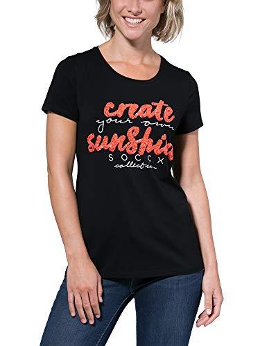 Soccx Damen T-Shirt mit Glitzer-Artwork -
