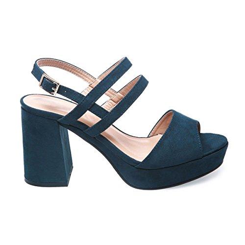 La Modeuse - Sandales en suédine à plateforme et talon épais Bleu