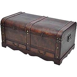 WT Trade Premium Truhe Holzschatztruhe Schatzkiste Groß XXL Braun | 90 x 51 x 42 cm | Holztruhe Aufbewahrungstruhe Schatztruhe Kiste | Piratenkiste Holzbox Kolonialtruhe Antikoptik | mit Ornamenten