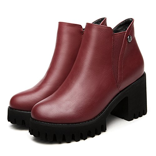 Damen Stiefeletten Reißverschluss Plattform Winterstiefeln Rot