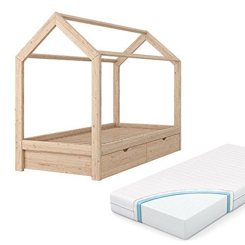 VICCO Kinderbett WIKI Kinderhaus Jugendbett Kinder Bett Holz Haus Schlafen  Spielbett Hausbett   Inkl