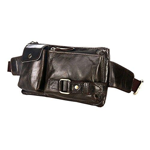 Gürteltasche Leder, P.KU.VDSL Bauchtasche Handtasche Hüfttasche Schultertasche Leder für Herren Damen (A - Dunkel Braun)