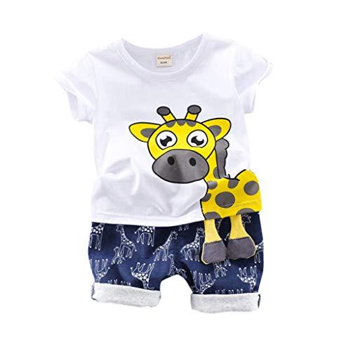 Sailor Kostüm Kleinkind Süße - Cuteelf Baby Anzug Kinder Kurzarm Giraffe 10D Stereo Füße Shirt T-Shirt + gedruckte Shorts Zweiteiliger Anzug Kleinkind Baby Kind Junge Giraffe Print Shirt T-Shirt süß lässig Wind