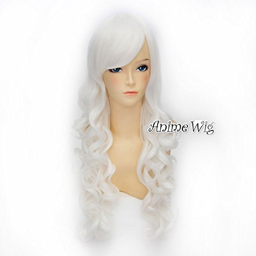 Top Cosplay Mode Weiß 70cm langes lockiges Damen Anime Cosplay Lolita Weihnac...