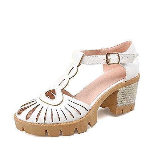 De De Toe Salto Rodada Branco Alto Puro Senhoras Agoolar Sapatos Bombas Fivela wqXnOBz
