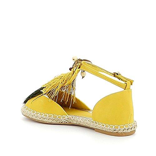 Nu-pieds avec breloques et plumes de paon Jaune