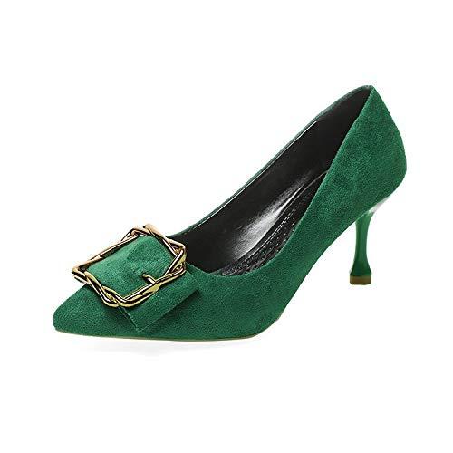 HRCxue Pumps Damenschuhe Einzelschuhe Damen Flacher Mund spitzer Stilett, grün, 36 -