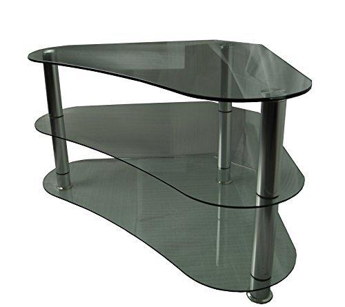 Mountright Curved Ecke TV Ständer für bis zu 106,7cm LED, LCD-& Plasma Gartenblick-Glas klar/Silber Beine