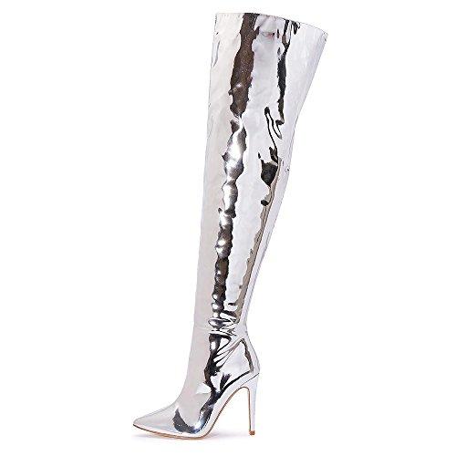 Damen Silber Metallic Spiegel Folie Über das Knie Oberschenkel hoch Hacke Stiletto Spitz Punkt Zehen Schuhe Stiefel