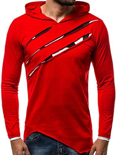 OZONEE Herren Longsleeve Kapuze Langarmshirt Sweatshirt Motiv Modern Täglichen Sport Camouflage 777/344L ROT L