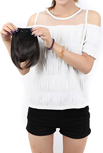 S-noilite® Clip in Pony Extension natürliche Haarverlängerung Haarteil Bang Perücke (Dunkelbraun)