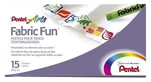 Pentel Fabric Fun PTS15 - Pastelli a cera, confezione da 15, colori assortiti
