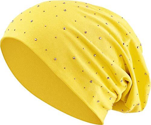 Jersey Baumwolle elastisches Long Slouch Beanie Unisex Herren Damen mit Strass Stern Steinen Mütze Heather in 35 (7) ()