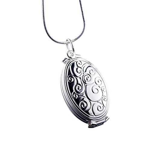 Xbeast Damenhalskette/ovale Halskette/Kreis-Anhänger/einzigartig Erweiterung Foto Medaillon Halskette Schmuck Dekoration - geeignet als Geschenk für Mädchen, Frauen (Silber) (Kreis-erweiterungen)