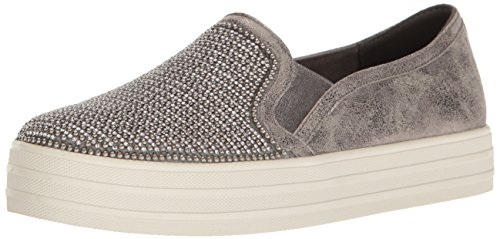 Skechers Damen Double Up-Shiny Dancer Slip On Sneaker, Grau (Pewter), 39 EU (Distressed Leder Turnschuhe)