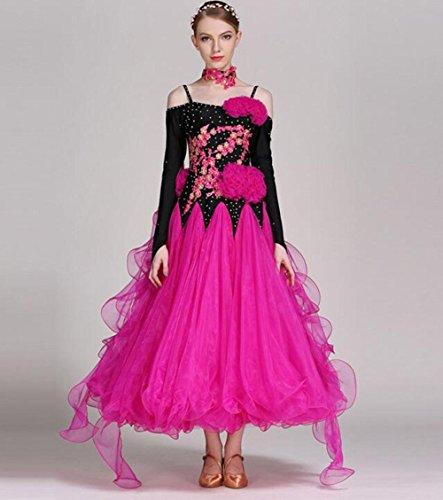 Kostüm Nationales Kleid - RENMEN Modernes diamantbesetztes Kleid Kleid nationalen Standard Ballroom Dance Kleid Kleid Kostüm, XL