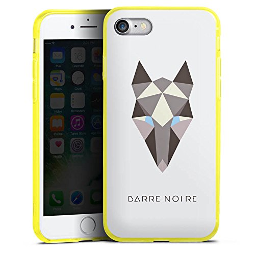 Apple iPhone 7 Silikon Hülle Case Schutzhülle Fuchs Muster Fox Silikon Colour Case gelb
