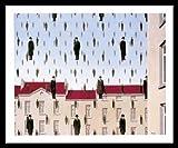 Rene Magritte Golconde Poster Kunstdruck Bild im Alu Rahmen in schwarz 50x70cm