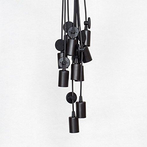 E27 DIY Retro Vintage Industrie Kronleuchter Pendelleuchten Hängelampe Höhenverstellbar (8-flammig) - 4