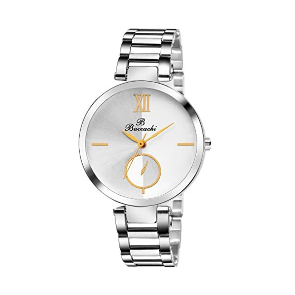 Buccachi Analogue Women's Watch (White Dial Silver Colored Strap)