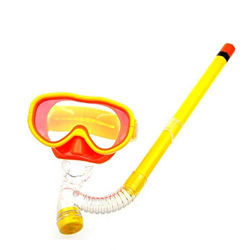Saflyse Kinder Schwimmbrille Schnorchel + Taucherbrille Set Kinder-Tauchset (Gelb)