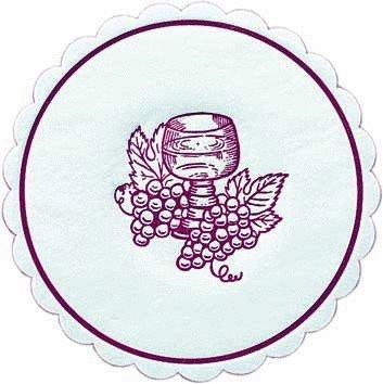 Untersetzer / Tassendeckchen 'Weinglas / Trauben' Bordeaux (10 cm / 8-lagig - 250 Stück) TISCHDEKO