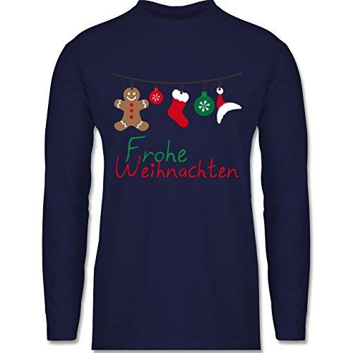 Weihnachten & Silvester - Frohe Weihnachten Girlande - Longsleeve / langärmeliges T-Shirt für Herren Navy Blau