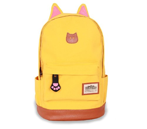 Fashion Plaza super süß Katze Ohre Design Canvas Rucksack Rucksäcke für Mädchen Schuler Kinder in der Schule mehrere Farben C5004 (gelb) (Dakine Canvas Schulter Tasche)