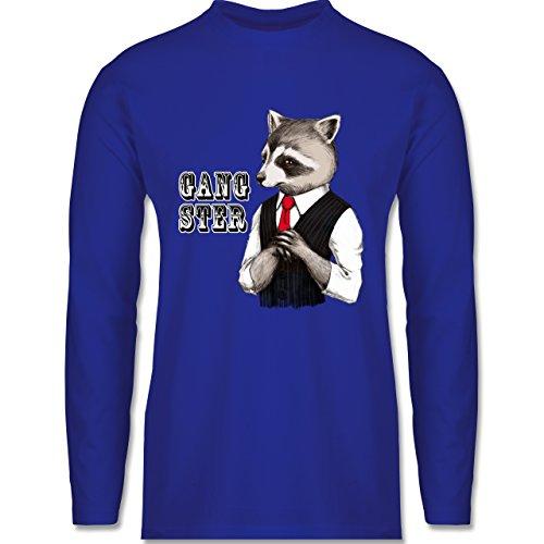 Shirtracer Statement Shirts - Gangster Waschbär - Herren Langarmshirt Royalblau