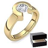 Gold Ring Verlobungsringe Gold (Silber 925 vergoldet) von AMOONIC mit Zirkonia Stein +LUXUSETUI! Goldring Gelbgold Ring Zirkonia wie Diamant Geschenk Ringe Verlobung TS01VGGGZIFA52