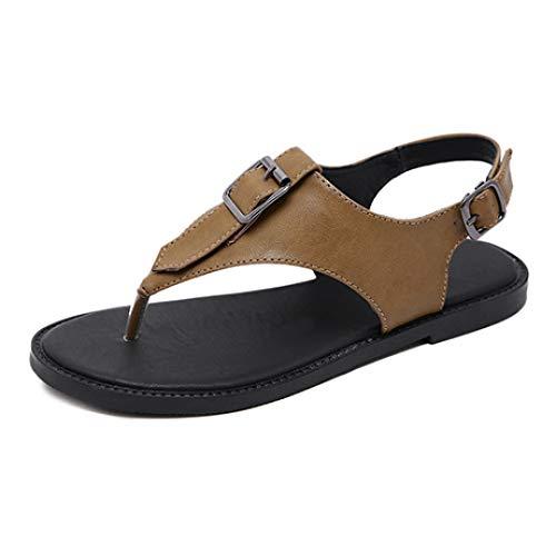 Verziert Faux Pelz (Frauen-Gladiator-T-Bügel-Flache Sandelholze justierbare Wölbungs-Bügel-Zapfen-Flipflops weicher Faux-Leder-Sommer-Strand-Schuhe)