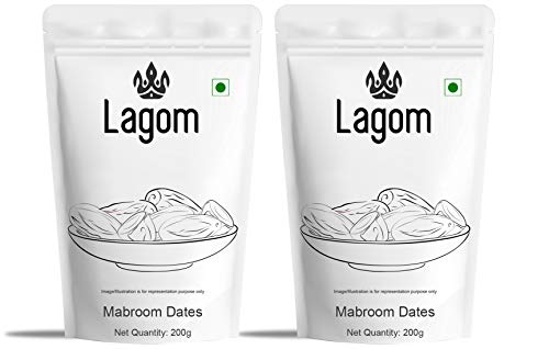 Lagom Saudi Mabroom Dates (Khajoor), 400g (200g * 2 Packs)
