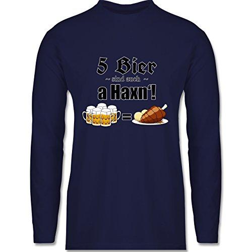 Oktoberfest Herren - 5 Bier sind auch a Haxn'! - Longsleeve / langärmeliges T-Shirt für Herren Navy Blau