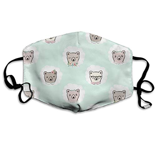 Lady Bears On Mint Anti Dust Mask Anti Pollution Washable Reusable Mouth Masks -