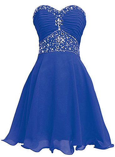 Azbro Women's Strapless Rhinestone Ruched Short Cocktail Dress Royal Blue